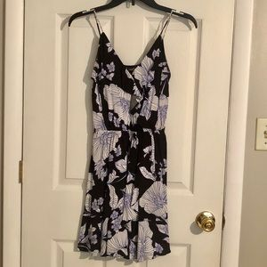 FLORAL RUFFLE WRAP FRONT CAMI DRESS